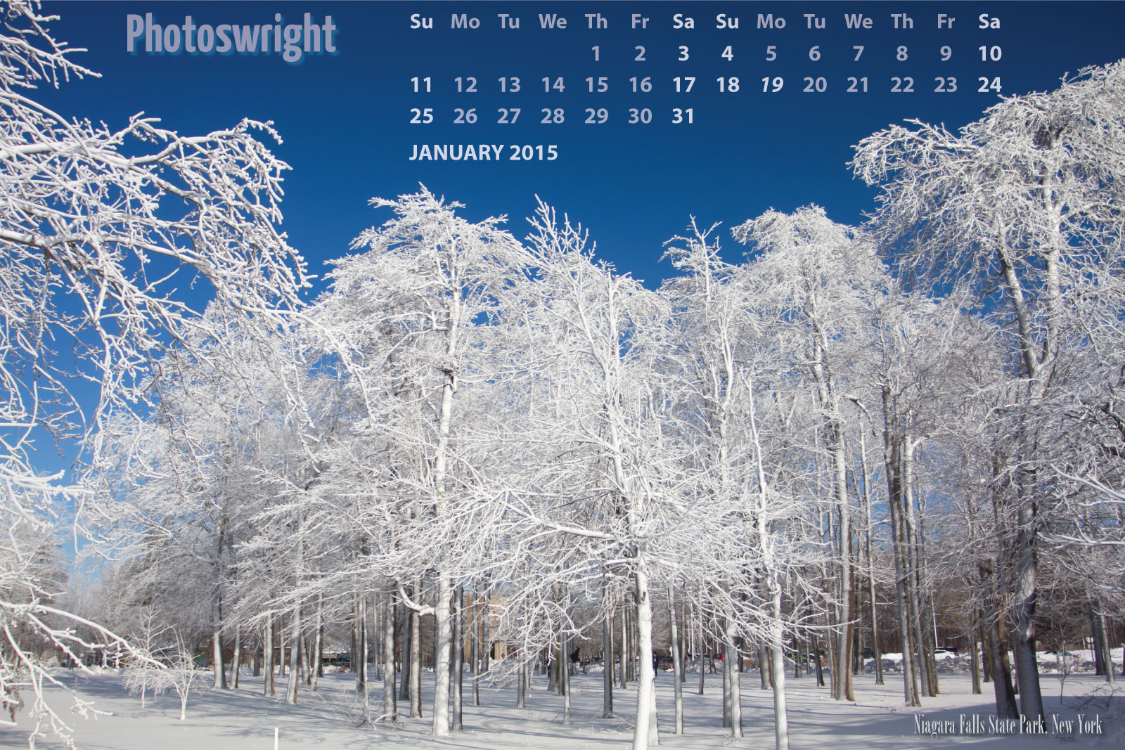 Photoswright web calendar for January 2015